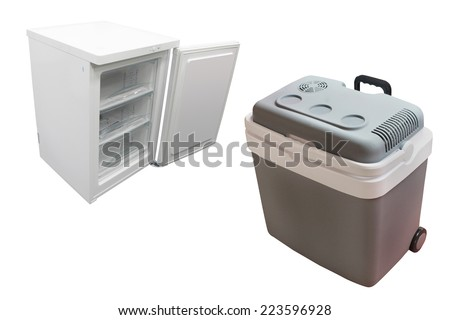 Car refrigerator isolated under the white background