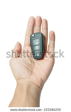 Car remote in hand, white background.