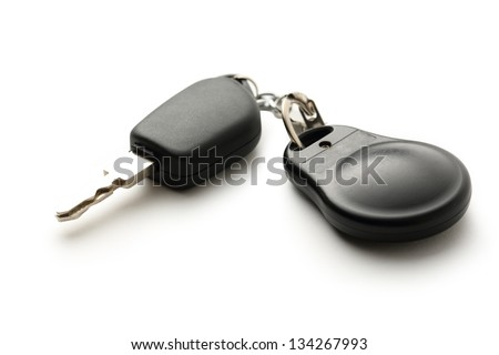Car remote key on white
