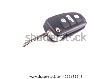 car remote key on white background - stock photo