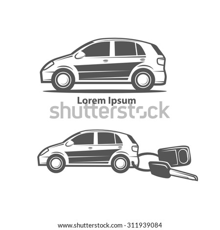car rental or sale concept, car key with trinket - stock photo