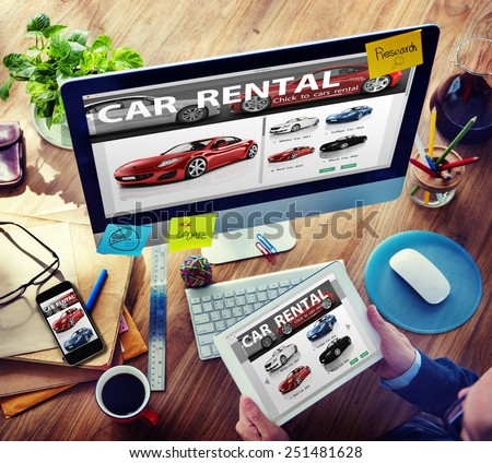 Car Rental Transportation Logistics Selection Man Working Concept - stock photo