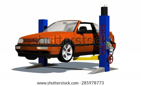 Car repair - Car on hydraulic ramp - isolated on white background