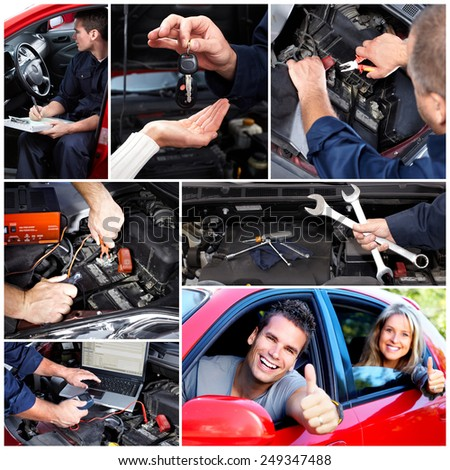 Car repair collage. Mechanic with wrench in garage - stock photo