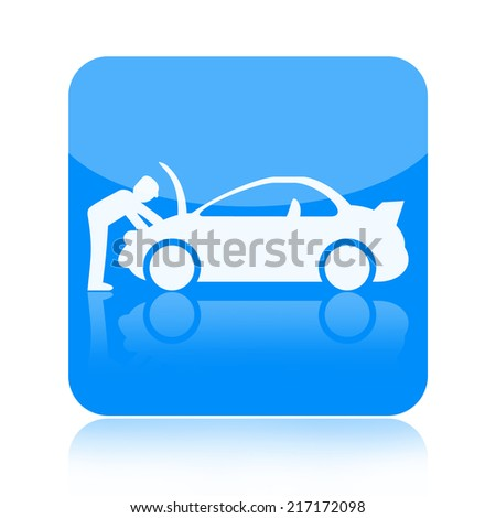Car repair icon isolated on white background - stock photo
