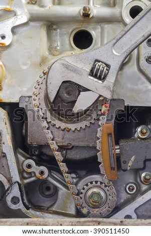 Car repair, prepare and checking car engine parts - stock photo