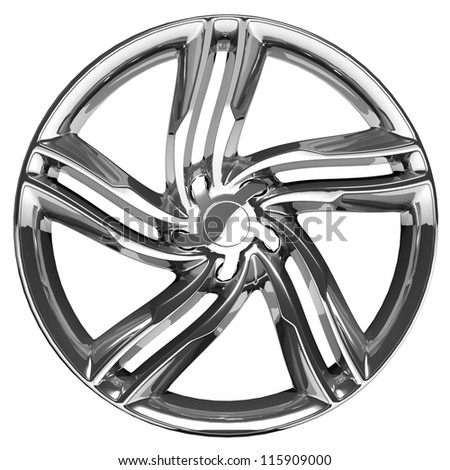 Car rim isolated on white background. 3d illustration. - stock photo