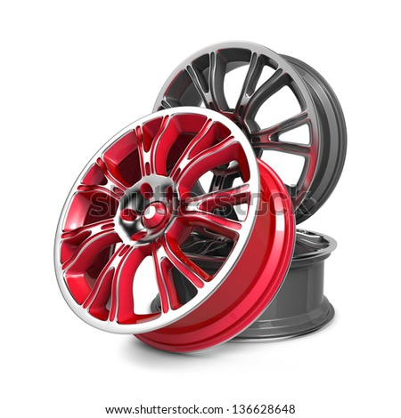 Car Rims, Red and Gray Rims isolated on White. - stock photo