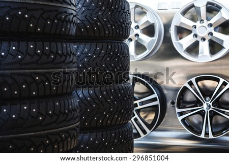 Car rubber tire close up - stock photo