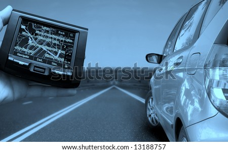 Car runing on the highway. gps guidance. - stock photo