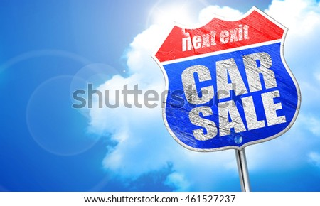 car sale, 3D rendering, blue street sign