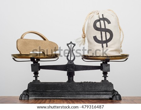 Car sales, old antique balance scales balancing a car and a bag of money with a dollar sign on.