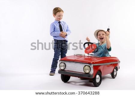 car salesman sells car to the customer - stock photo