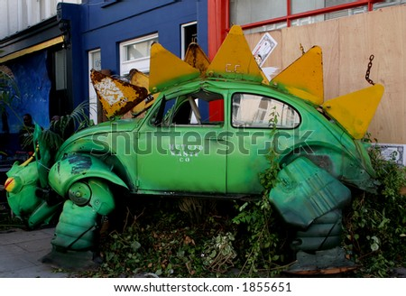 Car sculpture at the Notting Hill Carnival, London - stock photo