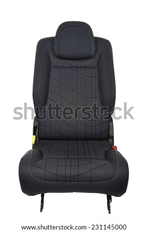 Car seat isolated on white background - front view - stock photo