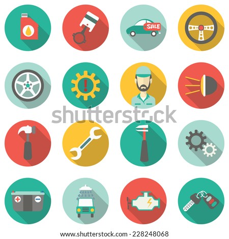 Car service flat icons. Raster version - stock photo
