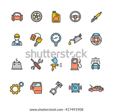Car Service Icon Color Set. illustration - stock photo