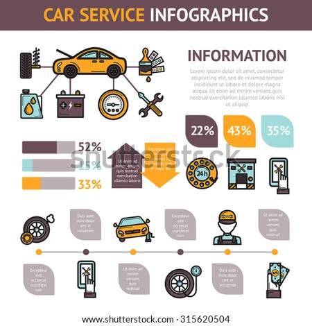 Car service infographics set with auto vehicle repair symbols and charts  illustration - stock photo