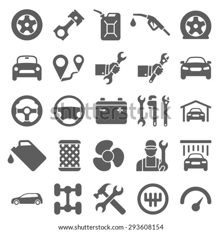 Car service maintenance icon set - stock photo