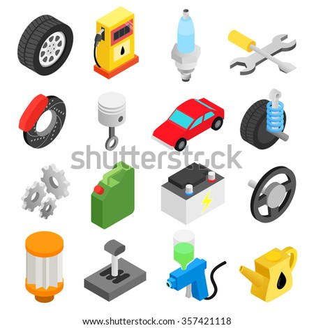Car service maintenance isometric 3d icons set for web and mobile devices - stock photo