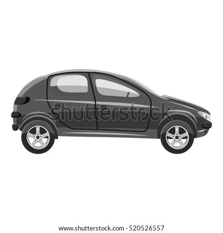Car side view icon. Gray monochrome illustration of car side view  icon for web