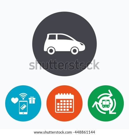 Car sign icon. Hatchback symbol. Transport. Mobile payments, calendar and wifi icons. Bus shuttle. - stock photo