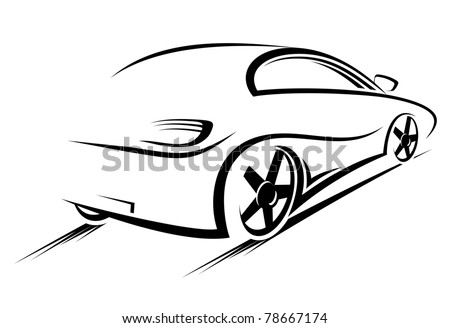 Car silhouette for race sports design. Vector version also available in gallery - stock photo