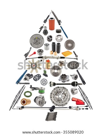 Car spare parts Christmas fir tree for shop on white background - stock photo