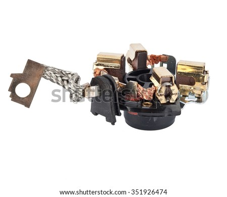 car spare parts for the starter on a white background - stock photo