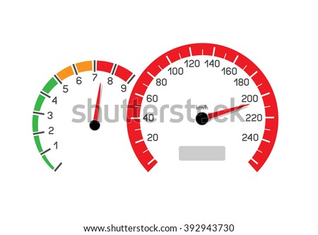 Car speeding limit illustration isolated on white background. Speedometer and rev counter shows the speed limit - stock photo