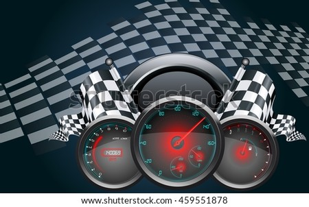 Car speedometer and checkered flags - stock photo