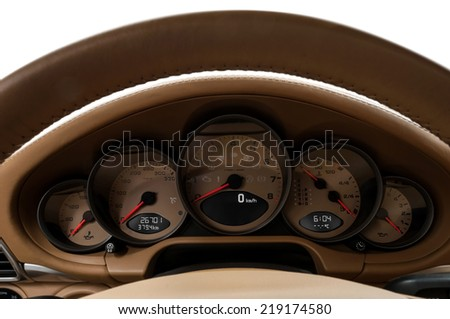 Car Speedometer. Close up image of car dashboard. - stock photo