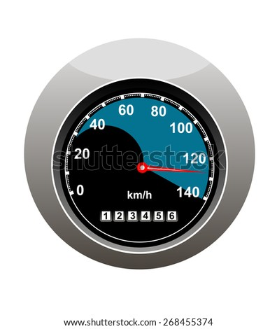 Car speedometer showing someone speeding at 130 kilimotres per hour and a high mileage over 123000 kilometres, isolated on white - stock photo