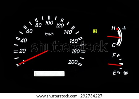 car speedometer with gasoline and temperature gauge