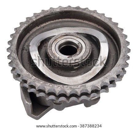 car sprocket timing gear injection pump isolated on white. spare parts - stock photo