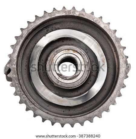 car sprocket timing gear injection pump isolated on white. spare parts