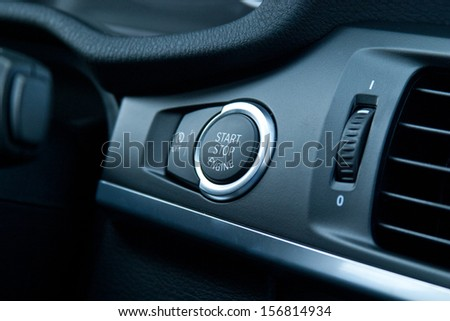 Car Start Stop Engine Button - stock photo