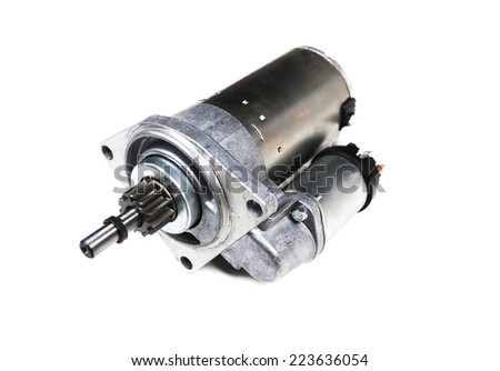 car starter isolated on white background - stock photo