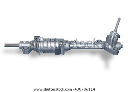 Car steering gear isolated on white background. New spare parts for passenger car. Chassis parts for aftermarket - stock photo