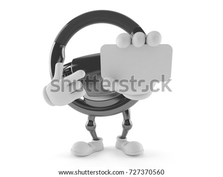 Car steering wheel character holding blank business card isolated on white background. 3d illustration