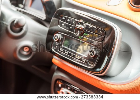 Car Stereo Audio System Front Panel - stock photo