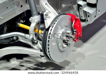 Car suspension with disc brake. - stock photo