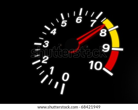 Car Tachometer Almost Reaching The Red Zone
