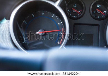 Car tachometer with high turnover. Overheating engine concept - stock photo