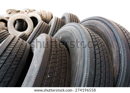 car tire close up in tire heap, used tires