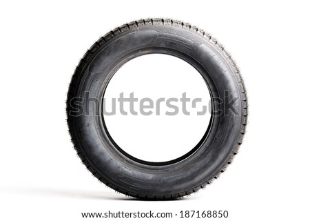 Car tire isolated on white background - stock photo