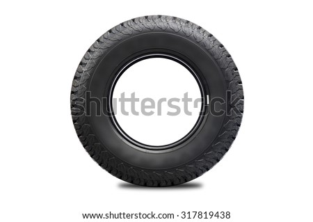 Car tire isolated on white background. - stock photo