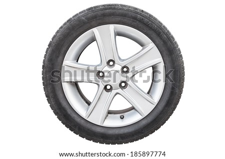 Car tire isolated on white background with clipping path - stock photo