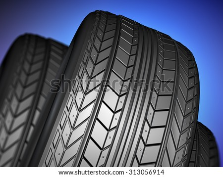 Car tire with protector, 3d illustration - stock photo