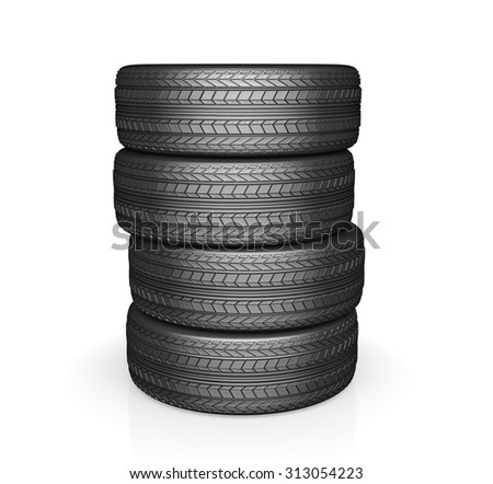 Car tire with protector, isolated on white background